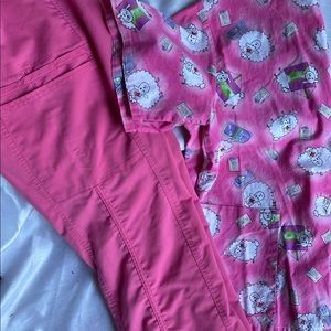 Pink scrub cargo pants and top